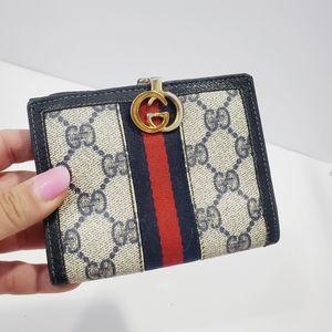 GUCCI Vintage blue web PVC leather bifold wallet